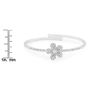 Isla Simone Silver Plated Crystal Flower Flex Bangle