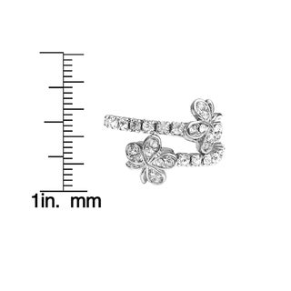 Isla Simone Silver Plated Crystal Double Flower Coil Ring