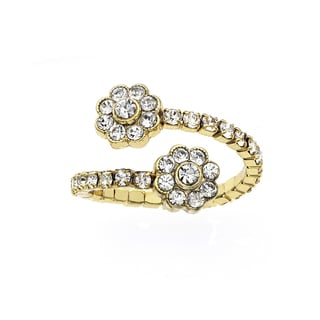 Isla Simone 14k Goldplated Crystal Flower Coil Ring