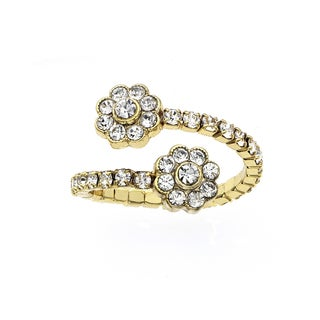 Isla Simone Goldplated Crystal Flower Coil Ring