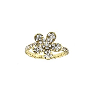 Isla Simone 14KT Gold Plated Crystal Large Flower Coil Ring