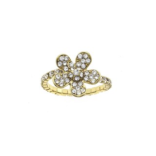 Isla Simone T Gold Plated Crystal Large Flower Coil Ring