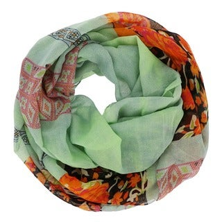 Green Floral Infinity Scarf