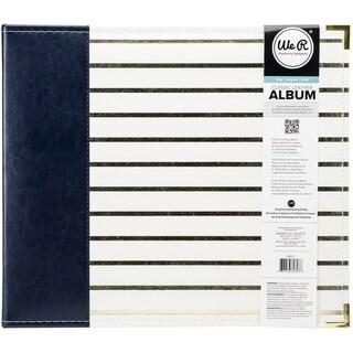 We R Designer D Ring Album 12inX12in Navy W/Gold Foil Stripes