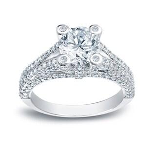 Auriya 14k White Gold 2ct TDW Round Diamond Engagement Ring