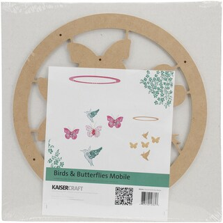 Beyond The Page MDF Birds & Butterflies Mobile 11in Round Ring W/Pieces Up To 4.25in