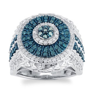 Sterling Silver 1.0ct TDW Blue and White Diamond Cluster Frame Ring
