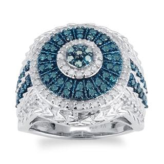 Sterling Silver 1.0ct TDW Blue and White Diamond Cluster Frame Ring (H-I, I2-I3)