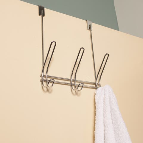 High Quality 3-Hook Chrome Finish Over The Door Hanging Rack