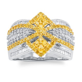 Sterling Silver 1.00ct TDW Yellow and White Diamond Multi Row Ring (H-I, I2-I3)