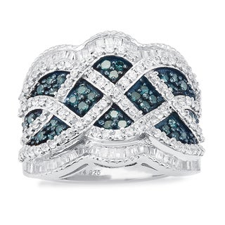Sterling Silver 1 1/2ct TDW Blue and White Baguette Diamond Wide Ring (
