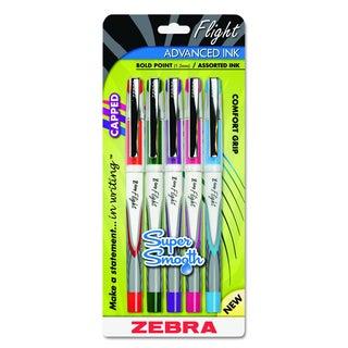 Zebra Z-Grip Flight Stick Assorted Ballpoint Pen (5 Packs of 5)