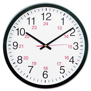 Universal 24-Hour Black Round Wall Clock