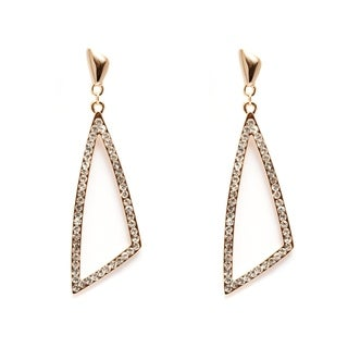 Goldplated White Austrian Crystal Open Triangle Earrings