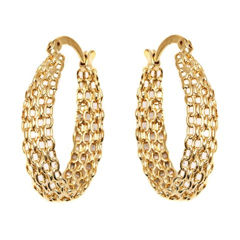 Gold Plated Cable Linked Hoop Earrings