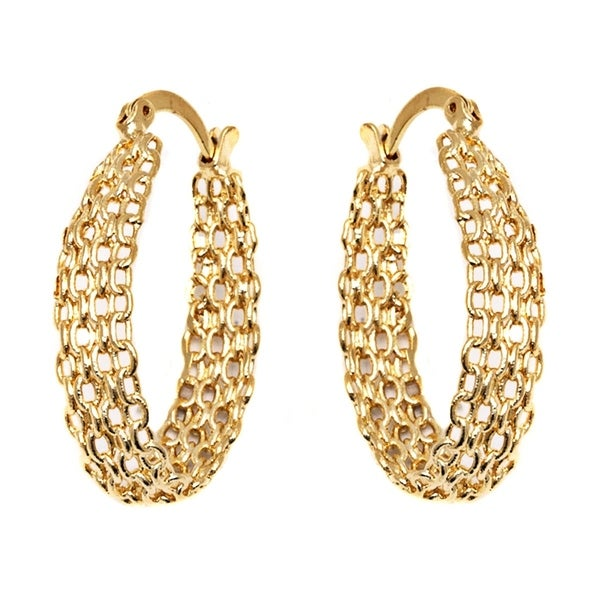 b30d8052c Shop Gold Plated Cable Linked Hoop Earrings - On Sale - Free ...