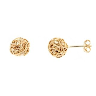 Goldplated Gold 9Mm Woven Cable Love Knot Stud Earrings