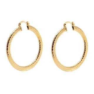 Peermont Jewelry 18k Goldplated 50mm Gold Diamond-cut Hoop Earrings