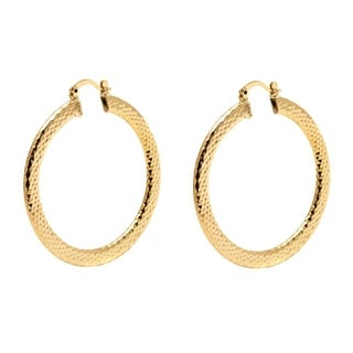 Goldplated 50mm Gold Diamond-cut Hoop Earrings