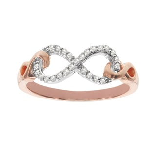 Rose Plated Silver Diamond Accent Fashion Infinity Ring by H Star