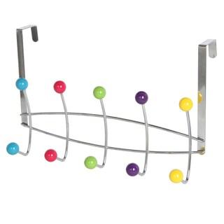 Over The Door Multi Colored 5 Hook Hanging Rack