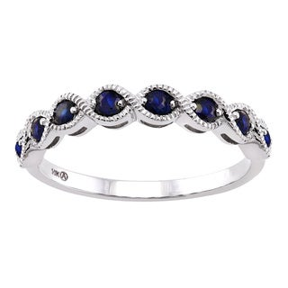 10k Gold Blue Sapphire and Ruby Milgrain Anniversary Stackable Ring