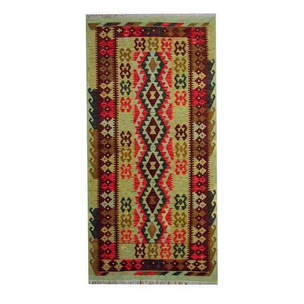 Herat Oriental Afghan Hand-woven Vegetable Dye Tribal Wool Kilim (3'7 x 7'2)