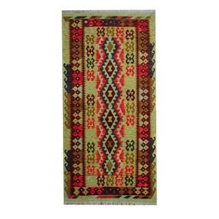 Herat Oriental Afghan Hand-woven Vegetable Dye Tribal Wool Kilim (3'7 x 7'2)