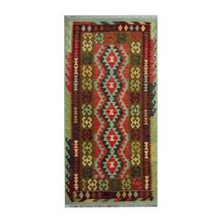 Herat Oriental Afghan Hand-woven Tribal Vegetable Dye Wool Kilim (3'5 x 6'8)