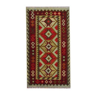 Herat Oriental Afghan Hand-woven Tribal Vegetable Dye Wool Kilim (3'7 x 6'6)