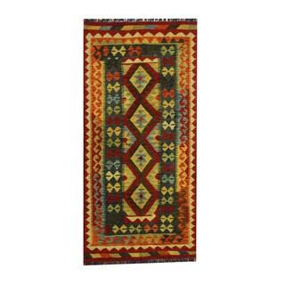 Herat Oriental Afghan Hand-woven Tribal Vegetable Dye Wool Kilim (3'3 x 6'9)