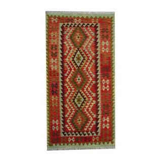 Herat Oriental Afghan Hand-woven Tribal Vegetable Dye Wool Kilim (3'6 x 6'8)
