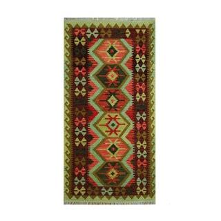 Herat Oriental Afghan Hand-woven Tribal Vegetable Dye Wool Kilim (3'4 x 6'7)