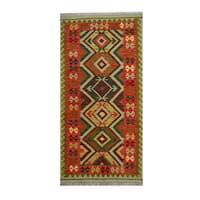 Handmade Herat Oriental Afghan Tribal Vegetable Dye Wool Kilim - 3'4 x 6'8 (Afghanistan)