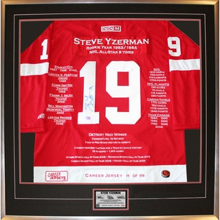 Steve Yzerman Framed Career Jersey