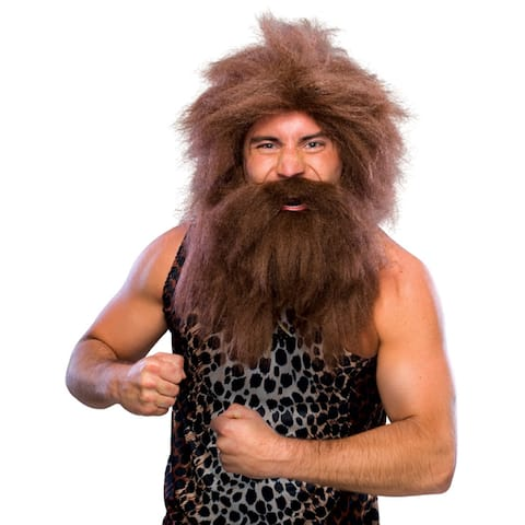 Adult Brown Caveman Wig And Beard Set