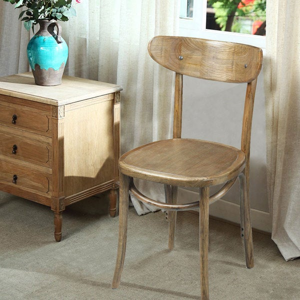 Adeco Natural Elm Wood Vintage Style Dining Chairs (Set Of 2)