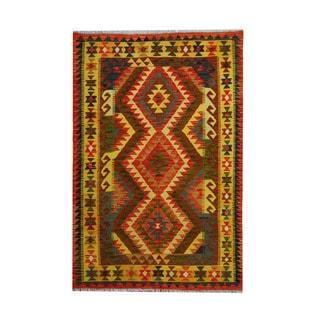 Herat Oriental Afghan Hand-woven Tribal Vegetable Dye Kilim Rust/ Gold Wool Rug (4'2 x 6'3)