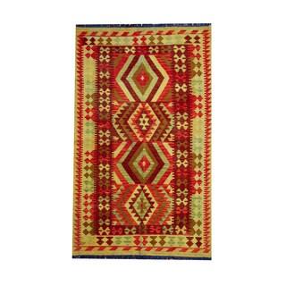 Herat Oriental Afghan Hand-woven Tribal Vegetable Dye Wool Kilim (3'10 x 6'4)