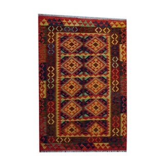 Herat Oriental Afghan Hand-woven Tribal Vegetable Dye Wool Kilim (4'2 x 6'1)