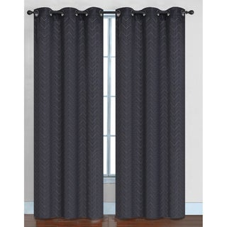 Chevron Faux Silk Blackout Grommet Top 84-inch Curtain Panel Pair