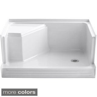 Kohler Memoirs 48 inches Shower Receptor with Integral Seat At Left and Right-hand Drain