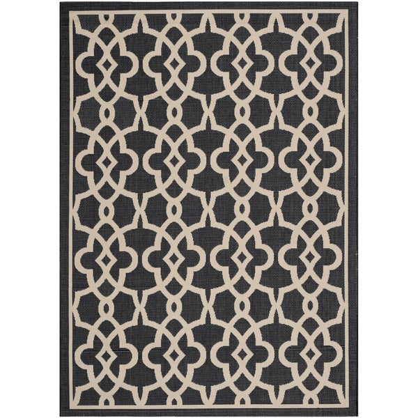 Safavieh Courtyard Geometric Poolside Black/ Beige Indoor/ Outdoor Rug - 8' x 11'