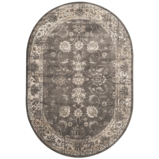 Safavieh Vintage Oriental Soft Anthracite Distressed Silky Viscose Rug (5' Oval)