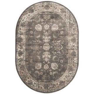 Safavieh Antiqued Vintage Soft Anthracite Viscose Rug (5' Oval)