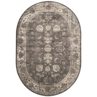 Safavieh Vintage Oriental Soft Anthracite Distressed Silky Viscose Rug (5' Oval) - 5'