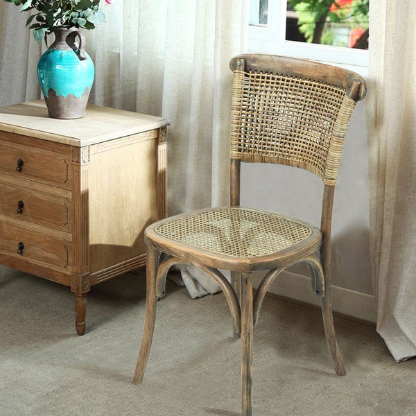 Vintage Style Dining Chairs: Shop Adeco Elm Wood Vintage Style Dining Chair With Rattan