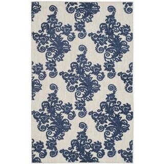 Safavieh Cottage Laverna Indoor/ Outdoor Rug (33 x 53 - Light Grey/Royal Blue)