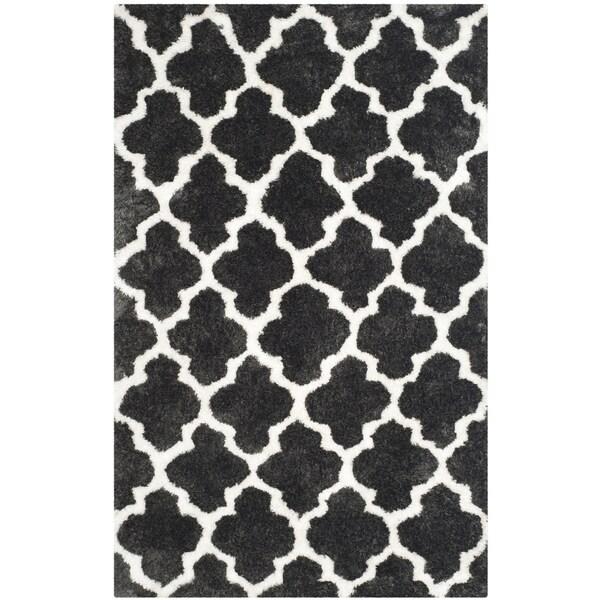 Safavieh Handmade Barcelona Shag Graphite Grey/ White Trellis Polyester Rug - 8' x 10'