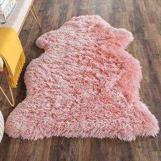 Safavieh Arctic Handmade Pink Hide Shaped Shag Rug (3' x 5')